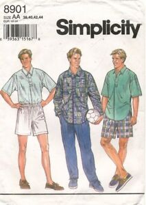 Simplicity Men's Shirt and Pull-on Pants or Shorts Pattern 8901 Size 38-44 UNCUT