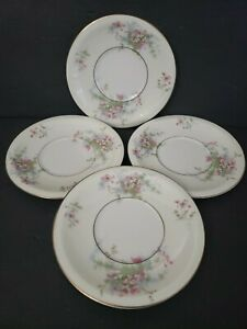 "4 VTG Theodore Haviland NY Apple Blossom 6 1/4"" Saucer for Cream Soup Bowl HG132"