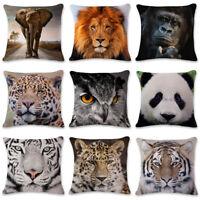 3D Tiger Lion Linen Waist Cushion Cover Sofa Bed Home Decor Festival Pillow Case
