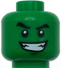 Lego New Green Minifigure Head Dual Sided Black Eyebrows White Pupils Monster