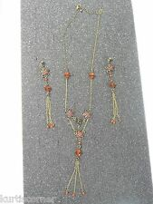 Antique Gold Color Necklace and Fringe Earring Set With Orange&Red Stones
