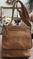 FOSSIL Tan Brown Leather SUTTER Organizer Cross-body Messenger Purse Bag 75082