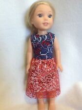 Wellie Wishers Red white blue patriotic dress American Girl doll clothes 14""