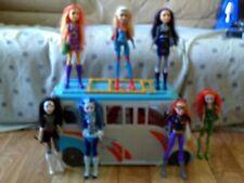 DC Super Hero Girls: School Bus Vehicle Playset & Dolls Lot Loose