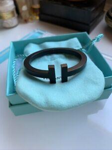 Striking $1400 XS Extra Small Tiffany & Co. T Square Black Steel Cuff Bracelet !