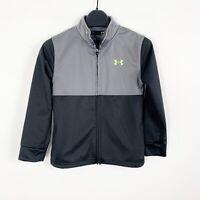 Under Armour Youth Boys Full Zip Track Jacket Sweatshirt Black Gray Size 7