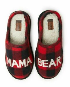 Dearfoams Women's Memory Foam Red Plaid Mama Bear Slippers Size small