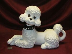 White Poodle ~ Hand Painted Bisque ~ Ready to Display