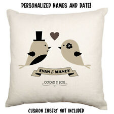 Mr Mrs Wedding Keepsake Anniversary Love Custom Names Cushion Cover Birds