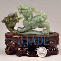 Natural Green Hetian Nephrite Jade Pixiu Statue Divine Animal Carving certified