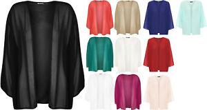 New Womens Plus Size Front Open Chiffon 3/4 Sleeve Kimono Cardigan Shrug UK16-26