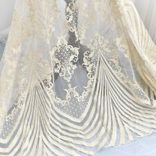 Light Gold Embroidery Wedding Gown Lace Fabric Costume Dress Tulle DIY Trim 0.5M