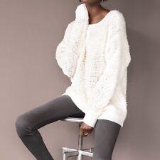 NEW Rag & Bone/JEAN Women's Corrine Ivory Chunky Knit Pullover Sweater Sz LARGE