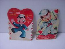 """Vintage VALENTINE Lot of 2 Military: Sailors in Uniform, """"Gobs and Gobs"""" of Love"""