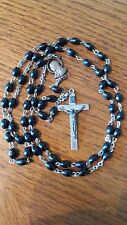 Vintage Black Beaded Rosary Made in Italy