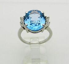 Huge 16ctw Swiss Blue Oval Topaz 10k White Gold Ring size 9 BLU BELL