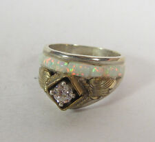 Size 5.5 Navajo Opal White Ring .925 Sterling Silver GoldFill Accent CZ Wedding