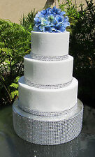 "Round Wedding Cake Stand/Riser/Platform/Pedestal, Rhinestone, 4"" tall Styrofoam"