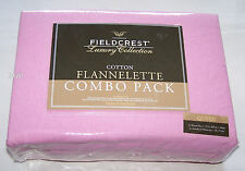 Fieldcrest Pink Queen Bed Flannel Fitted Sheet Combo Pack New