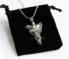 LOTR Lord Of The Rings Hobbit Arwen EVENSTAR Ciondolo Collana Argento + Borsa
