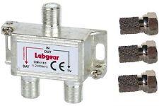 TV AERIAL & SATELLITE SIGNAL F TYPE COMBINER SPLITTER + 3 X F PLUGS