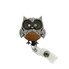 ID Badge Holder Reel Retractable Medical Nurse Owl Brooch Pin Clear Crystal