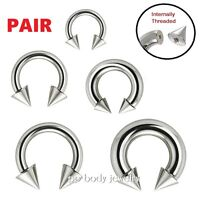 Surgical Steel Circular Horseshoe Barbell with SPIKE 20G 18G 16G 14G 12G 10G 8G