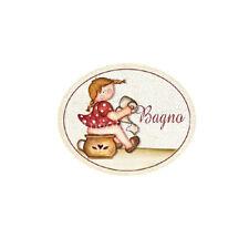 Targa legno Ovale BAGNO Bambina Vintage toilette idea regalo benessere made ital
