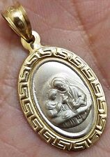 10k SOLID first communion perimera communion real gold Yellow White oval aztec