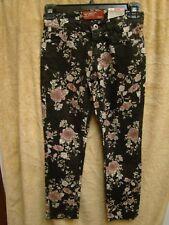 Arizona Jean Co. Skinny Black Floral Girls Jeans Adjustable Waistband Size 7 NEW