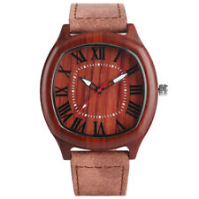 Mens Quartz Wrist Watch Handmade Genuine Leather Strap Wooden Square Dial Luxury