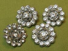 "4 rhinestone buttons flowers 13/16""  vintage metal"