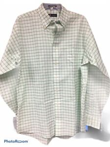 Chaps Mens Dress Shirt 16-16 1/2 34/35 Green Windowpane Classic Fit Oxford