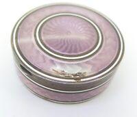.Stunning German Ornate Sterling Silver & Guilloche Pink Enamel Pill Box 55.4g