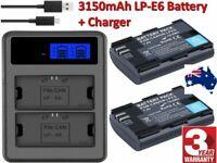 2X LP-E6 LP-E6N Battery + LCD Dual Charger For Canon EOS 80D 70D 7D 6D OZ
