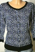 H&M Strickjacke Gr. 36-38 creme-weiß/schwarz-blau 3/4-Arm Muster Strickjacke
