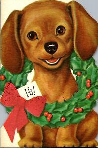 Pleasant Puppy Dog Wreath Decoration Diecut Norcross VTG Christmas Greeting Card
