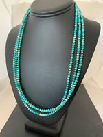 Genuine Natural Navajo Sterling Silver 3S 4mm Blue Turquoise Necklace Set 4827