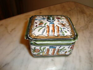"French hand painted box signed, earthenware porcelain, h-2.25""/ w-3""/ d-3"""