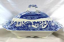 Copeland spode italian bleu blanc couvercle couvert végétal soupiere noir timbre ec