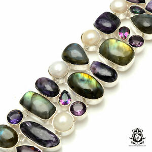 Labradorite Mystic Topaz Amethyst Pearl Bracelet B3249