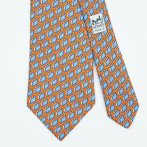 HERMES TIE 5353 TA Briefcase on Orange Classic Silk Necktie