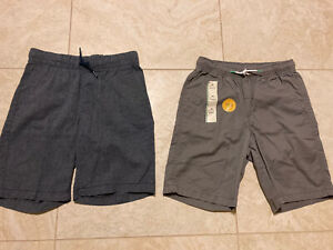 Lot 2 Boys Pull On Elastic Shorts Old Navy Blue 8 + Cat & Jack M 8-10 Gray Twill