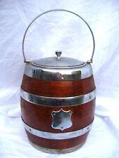 Antique Biscuit Barrel Oak & Silver Plate Blank Cartouche Cookie Jar Storage Etc