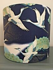 NEW HANDMADE LAMPSHADE ORIENTAL CRANES FABRIC BIRDS NAVY BLUE GOLD GREEN WHITE