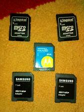Micro sd to sd memory card adapter, 2 samsung,1 motorola, 2 kingston, total x5