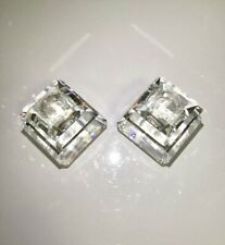 Retired Swarovski Square Large 2 Candle Holders Silver Crystal, Mint !
