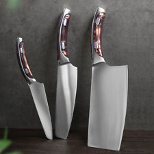 3PCS Kitchen Chef Knife Set Stainless Steel Meat Chopping Slicing Sharp Cleaver
