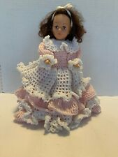 Vintage 12� Fibre Craft Doll Hand Crochet Pink And White Dress