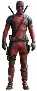 Handmade Men's Deadpool Black Red Motorcycle Leather Suit